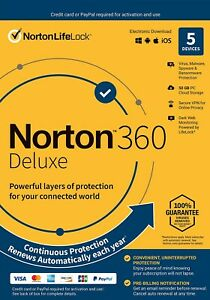 Norton 360 deluxe 5 devices with Auto renewal VPN firewall internet security