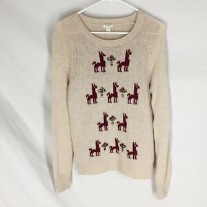 J. Crew Womens Wool Sweater Small Tan Llama Intarsia Pullover Embellished