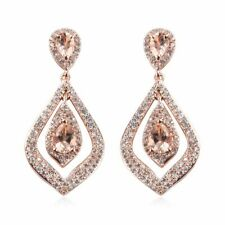 Plata esterlina 925 Rosa oro sobre Morganita cuelgan pendientes joyería CTS 1