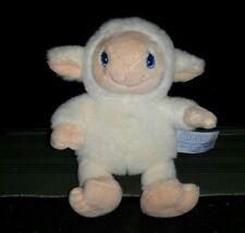 COM NEUF - Doudou mouton agneau beige yeux bleu  14 cm peluche avec billes Gipsy