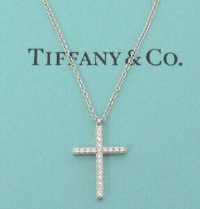 TIFFANY & Co. 18K White Gold Diamond Metro Cross Pendant Necklace