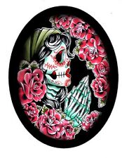 DAY OF THE DEAD ROSE SKULL OVAL MOTORCYCLE LEATHER BIKER VEST PATCH