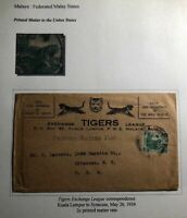 1934 Kuala Lumpur Malaya Tigers Exchange  Commercial Cover To Syracuse NY USA