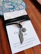 Wanderlust Necklace Yoga Tie Up Adjustable Black Suede Feather Woodland Travel
