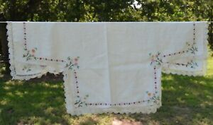 vtg Small Tablecloth Embroidered Flowers lace edge drop sides