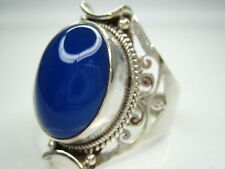 10CT VINTAGE NATURAL CHALCEDONY STERLING SILVER RING 12