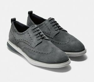 NIB COLE HAAN Mens Sz 11.5 GrandEvølution Wingtip Oxford Suede Vaper Gray C27395