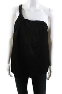 Theory Womens Sleeveless One Shoulder Blouse Top Black Size Small