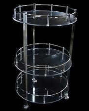 Tavolo Tavolino 3 piani Plexiglass Trasparente e Ottone 40x40x70 Design Moderno