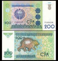 UZBEKISTAN 200 Sum (Som), 1997, P-80, Mythological Tiger, UNC World Currency