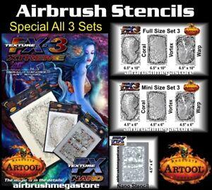 Artool Texture FX3 Airbrush Stencils Combo Set + Free Insured Freight