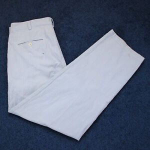 Vtg Brooks Brothers Mens Seersucker Cotton Pleated Pants Blue Striped Size 34x29