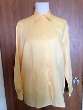 Women's MULBERRY ENGLAND 100% Linen Yellow Button Down Shirt SZ 12 Made in Italy