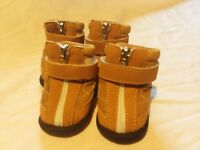 Small Dog Shoes Boots Tan Size 2 XXS 3 XS Non Slip Beige Brown