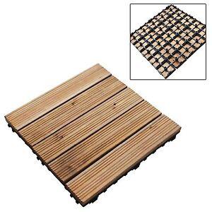 9Pc Decking Tiles Square Interlocking Connecting Instant Garden Outdoor Flooring