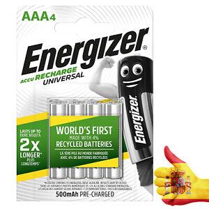 Pack 4 Pilas Recargables Energizer AAA Universal 500 mAh HR03