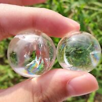 TOP!  Natural Clear Quartz sphere Rainbow Crystal Ball reiki Healing 2pc