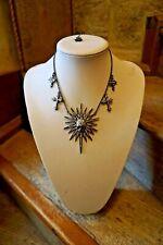 Butler and Wilson crystal Starburst  skull & Crosses  Necklace  pewter/  Black