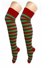 Ladies Sexy Red and Green ELF OTK Striped Christmas Socks