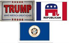 3x5 Trump White #2 & Republican & State of Minnesota Wholesale Set Flag 3'x5'