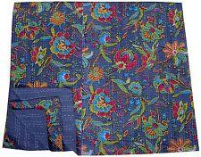Grey Floral kantha Quilt Indian Cotton Bedspread Handmade Reversible Blanket Art