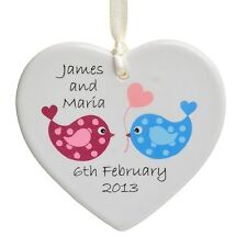Love Birds Ceramic Heart - Personalised Wedding Keepsake