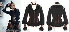 RQ-BL Steampunk Kunst-Leder Bluse Gothic Pirate Choker Shirt Victorian Sp105