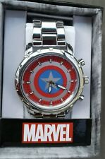 Marvel Captain America Shield Silvertone Metal Band Watch Accutime Great GIFT