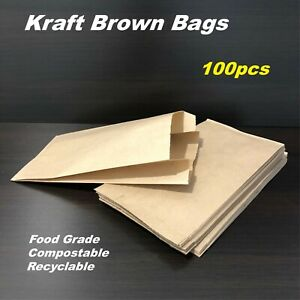 100 Small Brown Kraft Paper bags 18.8x10cm- Perfect for small items or takeaway