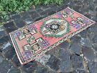 Handmade vintage rug, Turkish small rug, Wool rug, Carpet | 1,4 x 2,9 ft