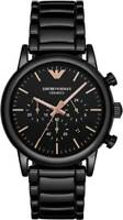 BRAND NEW EMPORIO ARMANI BLACK ROSE GOLD CERAMIC CHRONOGRAPH MEN WATCH AR1509