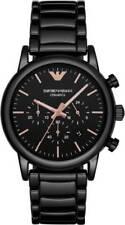 BRAND NEW EMPORIO ARMANI BLACK ROSE GOLD CERAMIC CHRONOGRAPH MEN WATCH AR1509