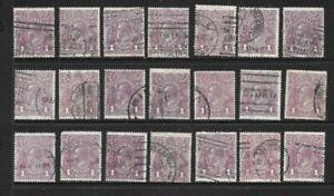 Stamps Australia Bulk KGV 1d Purple Heads x 21 Good/Fine Used