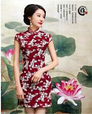 New red chinese women's embroidery lace evening mini Dress Ball Cheongsam s-xl
