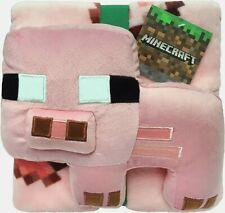 "*New* MINECRAFT Pillow Buddy and Throw Set / Blanket Big Pork Chop 46""x60"" Pink"