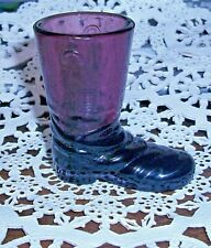 VERY SPECIAL DEGENHART GLASS TEXAS BOOT,  DARK  AMETHYST With History!