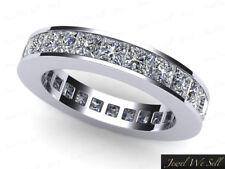 Eternity Band Ring 14k Gold F Vs2 4.10 Ct Princess Diamond Classic Channel Set
