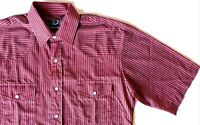 Mens Roper Western Striped Pearl Snap Shirt Size M Burgundy Short Sleeve EUC