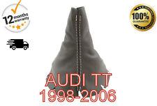 AUDI TT 1998-2006 Engranaje Polaina De Cuero Genuino-Gris Puntada