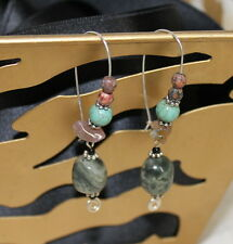 Pretty Sterling Silver Long Wire Earrings Jasper Turquoise Dangle Beads Handmade