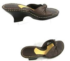 Cherokee 8 Sandals Brown Leather Wedge Heels Slip-On Womens Sandals Size 8 Shoes