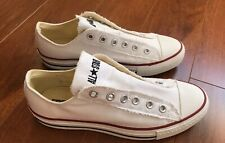 Converse All Star Sneakers White Low Top Slip Ons No Laces Men's 6.5 Women's 8.5
