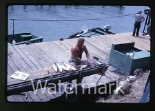 1962 35mm Kodachrome Photo slide Allenhurst FL Man cleaning fish  boat
