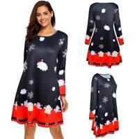 Christmas Cartoon Print Long Sleeve Women A-line Dress Retro O-neck Dresses