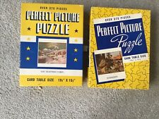 2 Vintage  Perfect Picture Puzzle 375 Piece THE TRAPPERS CABIN & SURPRISED