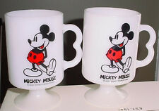 2 Fire King Mickey Mouse Pedestal white Milk Glass Mugs Cup New unused