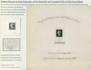 Perkins Bacons Archive Examples of the Penny Black Rejected and Accepted Dies