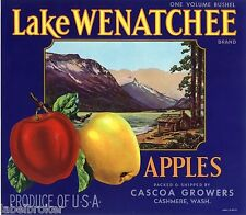 APPLE CRATE LABEL LAKE WENATCHEE VINTAGE CASHMERE CABIN ORIGINAL 1940 WASHINGTON
