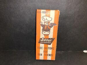 JERRY'S RESTAURANT J BOY HAMBURGER MAN BOX OF CRAYONS VINTAGE ADVERTISING
