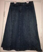 Susan Bristol Women's Sz 6 Denim Skirt Blue Jean Long Modest No Slit